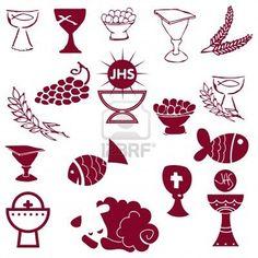 Conjunto de la ilustración de una comunión representando símbolos cristianos tradicionales, incluyendo vela (luz), cáliz, uvas (vino), oído, Cruz y pan  Foto de archivo