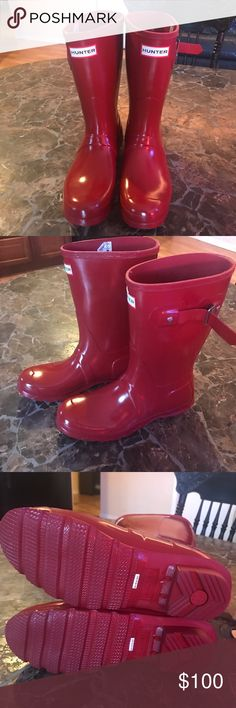 Hunter boots red NWOT! Size 8 ✔️ Never been worn before in perfect condition red mid ride hunter boots size 8. Hunter Boots Shoes Winter & Rain Boots