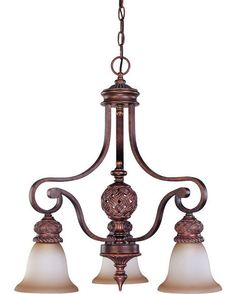 Nuvo Lighting 60-1582 Wesley Collection Three Light Chandelier in Dark Plum Bronze Finish | Quality Discount Lighting
