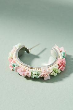 Slide View: 2: Julia Flower Petite Hoop Earrings