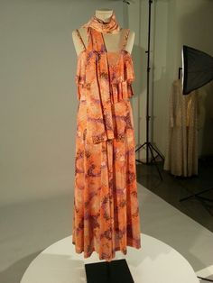1970s silk tiered dress with silk screened polka dots and braided spaghetti straps