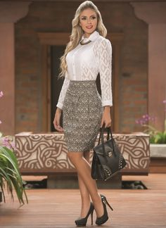 my favorite office and beauty clothes Sexy Blouse, Blouse And Skirt, Dress Skirt, Classy Outfits, Sexy Outfits, Fashion Outfits, Womens Fashion, Western Dresses For Women, Bcbg
