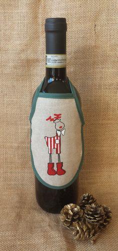 Xmas Wine Apron, Reindeer Wine Apron, Novelty Gift, Stocking Stuffer, Wine…