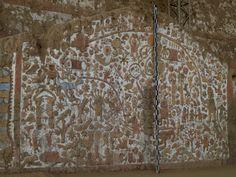 Huaca de la Luna Moche Culture Trujillo Peru  Huaca de la Luna (Temple/Shrine of the Moon) is a large adobe brick structure built mainly by the Moche people of northern Peru.