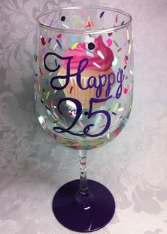 Your place to buy and sell all things handmade 25th Birthday Ideas For Her, Happy 25th Birthday, Special Birthday Gifts, Birthday Wine Glasses, Painted Wine Glasses, Wine Recipes, Favorite Color, Handmade, Wine Pairings