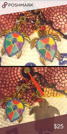 🆕 Vintage AFRICAN WOOD TURTLE EARRINGS Absolutely adorable! Vintage Tortoise/Turtle African Wood Pierced earrings with Dangling crystals . Colorful shell; hand painted. In good vintage condition. Vintage Jewelry Earrings
