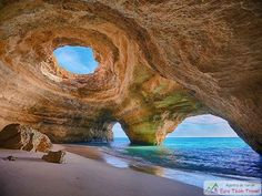 Cave in Algarve, Portugal. The Algarve region in Portugal, where this cave is located, is prone to various seaside formations because of the rock face's relative solubility in water. This specific cave near Lagos is accessible only by water. Beaches In The World, Places Around The World, Around The Worlds, Best Beaches In Portugal, Portugal Travel, Faro Portugal, Albufeira Portugal, Portugal Trip, Visit Portugal