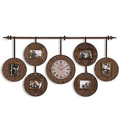 Wall clock with picture frames, long. Great way to break up a long wall Wall Clock With Pictures, Long Walls, Diy Clock, Bedroom Wall, Bedroom Ideas, Photo Displays, Frames On Wall, Home Projects, Picture Frames