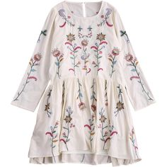Embroidered Smock Dress With Slip Dress ($32) ❤ liked on Polyvore featuring dresses, embroidery dresses, longsleeve dress, broderie dress, long sleeve dress and pink embroidered dress