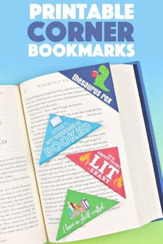 These punny printable corner bookmarks keep your place perfect, and they will make you smile when you see them! Choose your favorite and give the others to your bookworm friends! Diy Arts And Crafts, Fun Crafts, Crafts For Kids, Creative Activities For Kids, Creative Kids, Creative Crafts, Paper Folding Crafts, Paper Crafts, Corner Bookmarks
