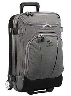 eBags TripAdvisor 21″ Wheeled Duffel // Small and lightweight rolling suitcase, fits in any overhead compartment, convertible pockets and organizing sections built in. Good for ultralight carry-on only travel.