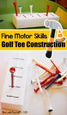 Fine Motor Skills Golf Tee Construction Activity: Kids can have fun hammering away as they work on hand-eye coordination and fine motor skills. (Preschool, Kindergarten)