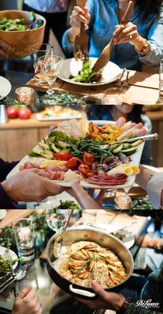 Side dishes so sensational you won't even notice the turkey: I Harvest Salad with turkey, dried cranberries and pecans. I Harvest Platter of meats, cheeses and roasted vegetables. I Vegetable Tian with herbs de Provence and fresh thyme. #Thanksgiving