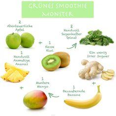 Das grüne Smoothie Monster Rezept für gesunde Sommer getränke. Noch mehr tolle Rezepte gibt es auf www.Spaaz.de