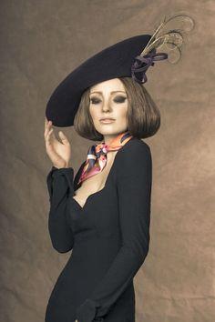 Rachel Trevor Morgan, A/W 2013 - Wine velour felt hat with curled pheasant feathers.
