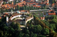 An aerial view of Ljubljana Castle (photo: Dunja Wedam) Inter Rail, Rail Europe, Paraiso Natural, Sustainable Tourism, Closer To Nature, Aerial View, Dream Vacations, Continents, Paris Skyline