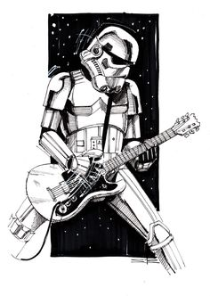 stormtrooper playing guitar - Google Search Star Wars Shirt, Rock Band Posters, Ange Demon, Star Wars Wallpaper, Star Wars Fan Art, Junk Art, Star Wars Poster, Playing Guitar, Rock Music