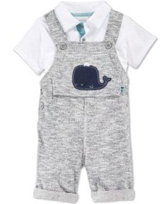 First Impressions Baby Boys' 2-Piece Whale Shortall & Polo Shirt Set, Only at Macy's