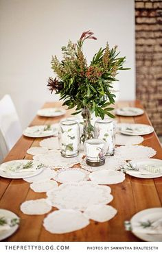 Doilies, consol flasks with botanical prints, flower arrangement | Photography & Styling: Samantha Brauteseth, Decor, Styling, Stationary: Helena Brown,  Flowers: Anene & Glen Brown