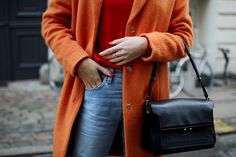 Coat from Mads Nœrgaard, red cashmere knit from Radical Zoo, jeans from Levis, earrings from H&M, boots from Zara and bag from Marni. Follow me on BloglovinandInstagram