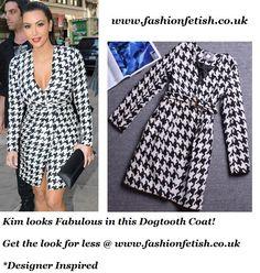 Gorgeous Designer Inspired Dogtooth Houndstooth Coat with Belt Similar style worn by Kim Kardashian Lady Gaga UNBRANDED Material Wool Cotton Size UK