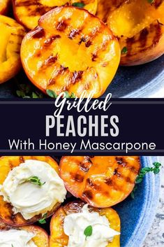 This Easy Grilled Peaches Recipe with brown sugar, mascarpone, honey and fresh t. This Easy Grilled Peaches Recipe with brown sugar, mascarpone, honey and fresh thyme is the best de Vegetarian Recipes Videos, Vegetarian Meals For Kids, Vegetarian Breakfast Recipes, Healthy Dessert Recipes, Fun Desserts, Healthy Snacks, Dinner Recipes, Vegetarian Grilling, Grilled Desserts