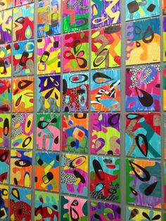 I had so much fun introducing Rex Ray to my students. His flowing geometric artworks were a lesson in balance of shape and color. Students painted their own papers and used wood paper along with pr...