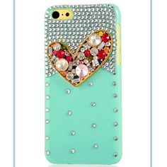 iPhone 5C - Mint Green Multi-Color Gem Heart Case  Item 1383  - Specialty:   Features: