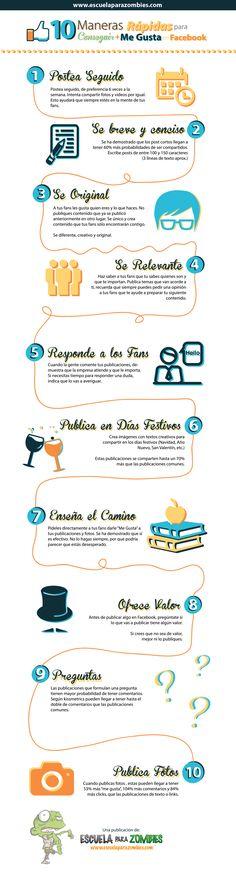 10 maneras rápidas para obtener más me gusta en Facebook. Infografía en español. #CommunityManager