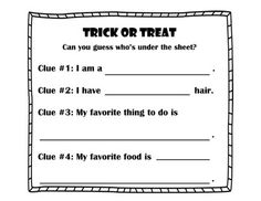Halloween Activity Trick or Treat Can you guess who's unde