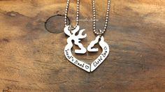 Personalized Her Buck His Doe Hand Stamped Necklace Set, Personalized Gift Set…
