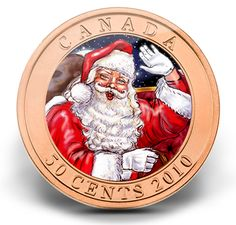 Canada 2010 Holiday Lenticular - Santa Claus + Rudolph the Red-Nosed Reindeer 50 Cents Colorized Christmas Half Dollar with Lenticular Technology Specimen Canadian Gifts, Canadian Things, Give Me My Money, Commemorative Coins, Rudolph The Red, World Coins, Red Nosed Reindeer, Half Dollar, Money Matters