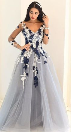 evening gown with sleeves Sheer Sleeves Appliques A-line Tulle Prom Dresses