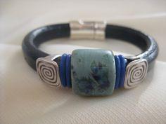 Thick Leather Bracelet European Navy Blue Licorice Regaliz Spanish Leather…