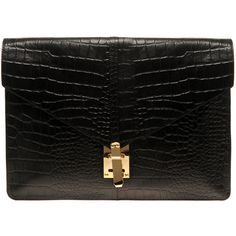 Asos Croc Embossed Leather Porfolio Clutch ($106) ❤ liked on Polyvore featuring bags, handbags, clutches, purses, borse, bolsas, oversized clutches, hand bags, crocodile purse and oversized handbags
