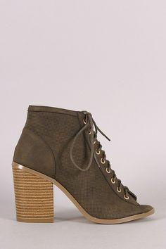 Liliana Perforated Nubuck Chunky Heeled Ankle Boots
