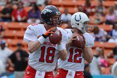 Dos de los mejores QB's en la NFL Manning y Luck Football Love, Football Baby, Sport Football, Football Helmets, Go Broncos, Denver Broncos, Nfl Pro Bowl, Andrew Luck, Nfl News