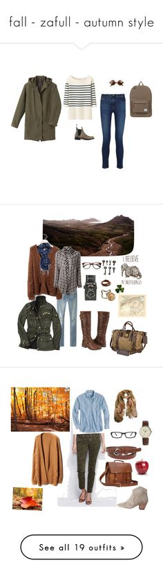 """""""fall - zafull - autumn style"""" by ghei on Polyvore featuring mode, AG Adriano Goldschmied, rag & bone, A.P.C., Uniqlo, Herschel Supply Co., classic, coldweather, R13 et Barbour"""