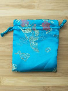 Premium Mala Bag - Turquoise Dragons & Peacocks Brocade