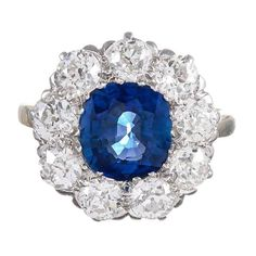 2.63 Carat Sapphire Old European Cut Diamond Cluster Ring | 1stdibs.com