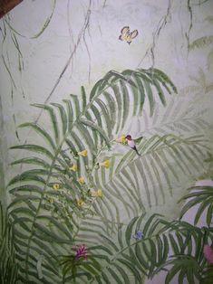 hummingbird in the rainforest. Jungle Bedroom, Jungle Nursery, Girl Nursery, Kids Bedroom, Painting Wallpaper, Mural Painting, Wall Wallpaper, Rainforest Theme, Nursery Themes