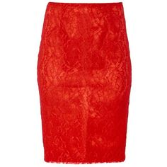 MAIOCCI Collection Form Fitting Lace Skirt (395 RON) ❤ liked on Polyvore featuring skirts, red, women, red skirt, red knee length pencil skirt, knee length lace skirt, knee length pencil skirt and lace pencil skirt