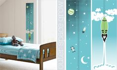 Outer Space Growth Chart Blue 5, 4, 3, 2 ,1, BLASTOFF! You grow up too fast. https://www.facebook.com/MoomaDecor
