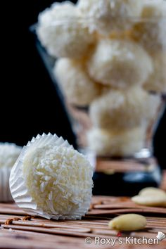 an almond in the middle of this candy made from condensed milk, milk powder, coconut flakes, and butter Candy Recipes, Holiday Recipes, Dessert Recipes, Rice Krispie Treats, Rice Krispies, Rice Bubble Recipes, Marshmallow Fudge, Coconut Candy, Cherry Cake