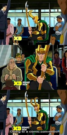 "This is hilarious. He's like ""Yes I am Loki, and yes I am being forced to rid this bus with you disgusting mortals!"""
