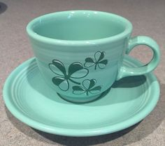 Fiesta® Seamist Green Cup and Saucer with Shamrock Design