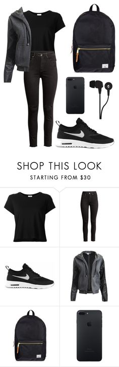 """Uhuuuu"" by bandyugan-07 ❤ liked on Polyvore featuring RE/DONE, NIKE, Sans Souci, Herschel Supply Co. and Skullcandy"