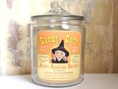 Halloween Jar, Witch, Candy Corn, Halloween Decor