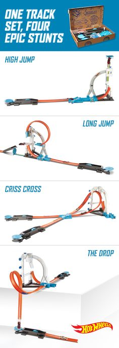 Construct four epic stunts with the new Track Builder Stunt Kit to put kid's Hot Wheels cars to the test. With one set, they can see which Hot Wheels c an jump the highest, fly the farthest, avoid a crash or make the drop. Kids can try every car to find out which one beats them all!