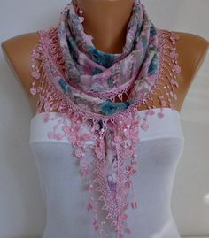 Pink Floral Scarf  Women Shawl Scarf  Cowl by fatwoman, #scarves